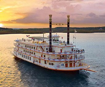 Branson Belle sailing in the sunset