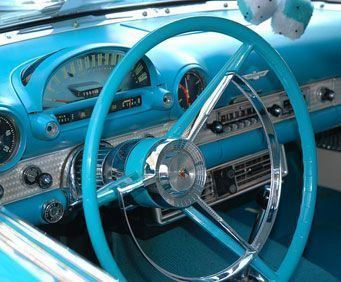Beautiful blue car interior