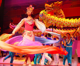 Swirling dancers and dragons adorn the Acrobats of China stage