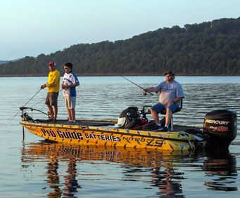 Fishing from a boat on Table Rock Lake