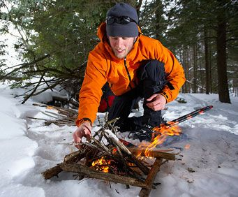 Making a fire on the wilderness vacations