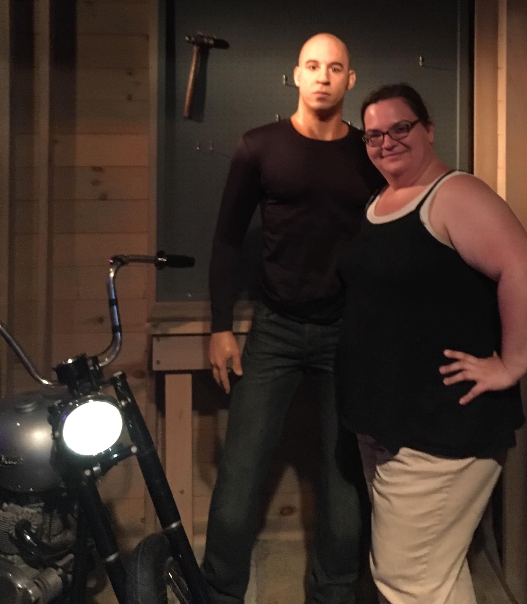 With Vin Diesel at the Hollywood Wax Museum near the Quality Inn Branson on the Strip