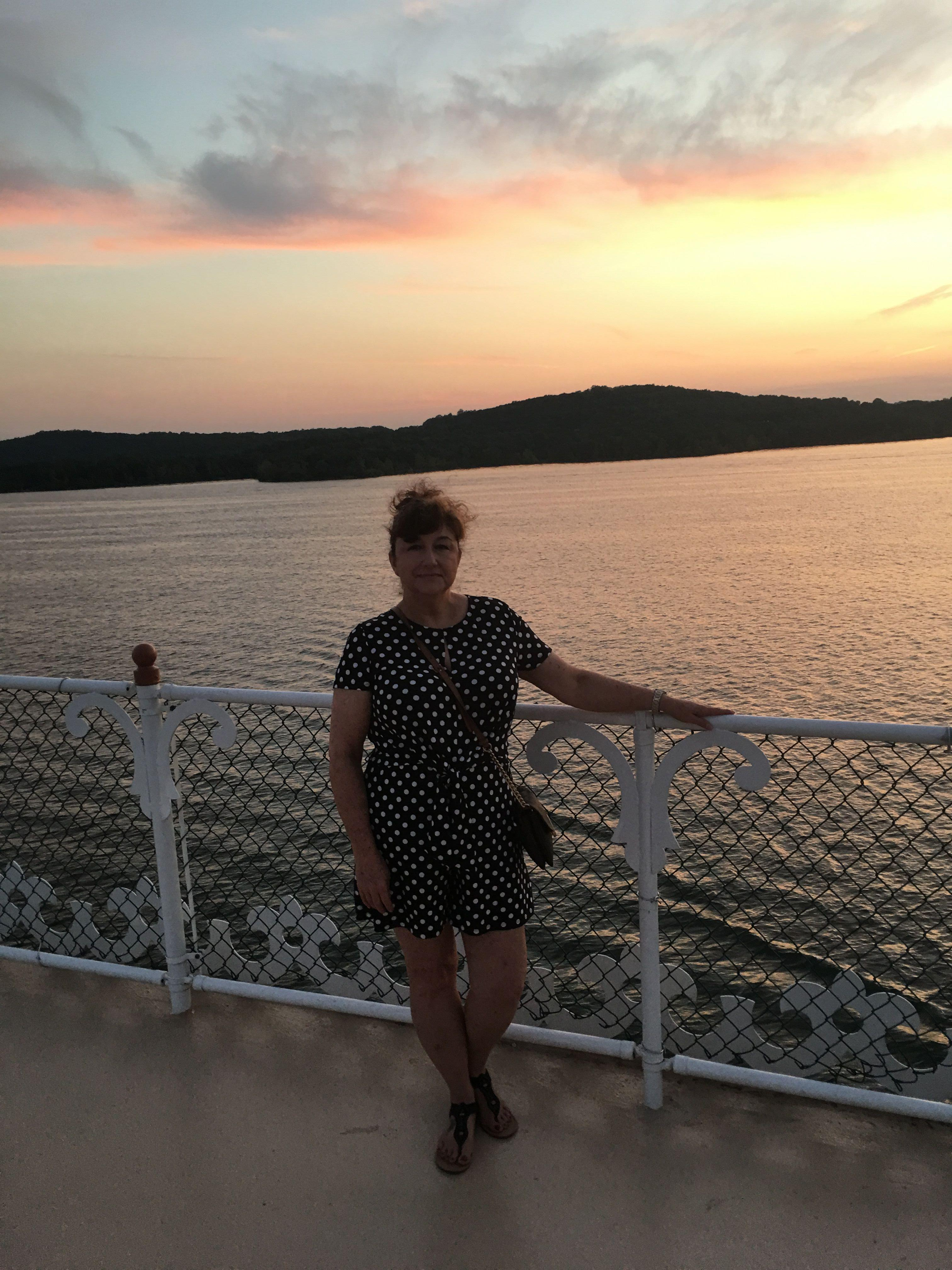 Woman with the Sunset on the Showboat Branson Belle Lunch and Dinner Crusies