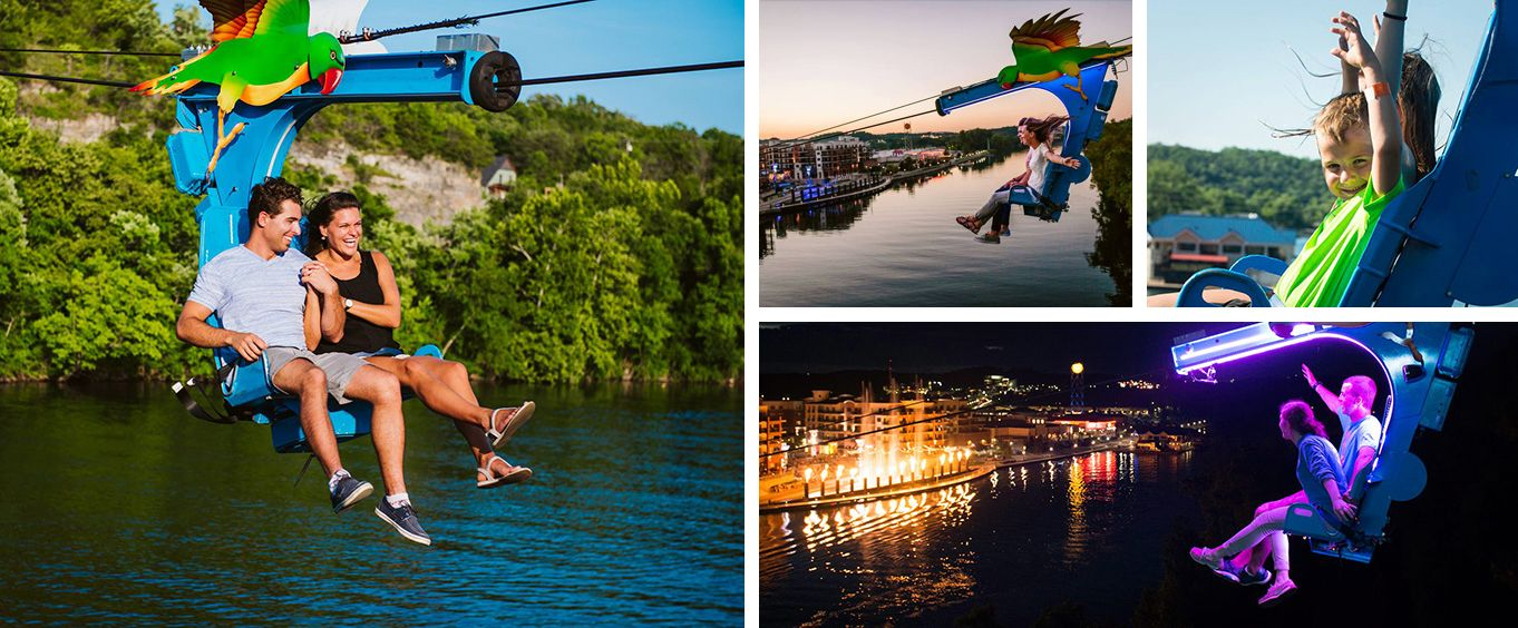 Incredible Fun at Parakeet Pete's Waterfront Zipline at Branson Landing