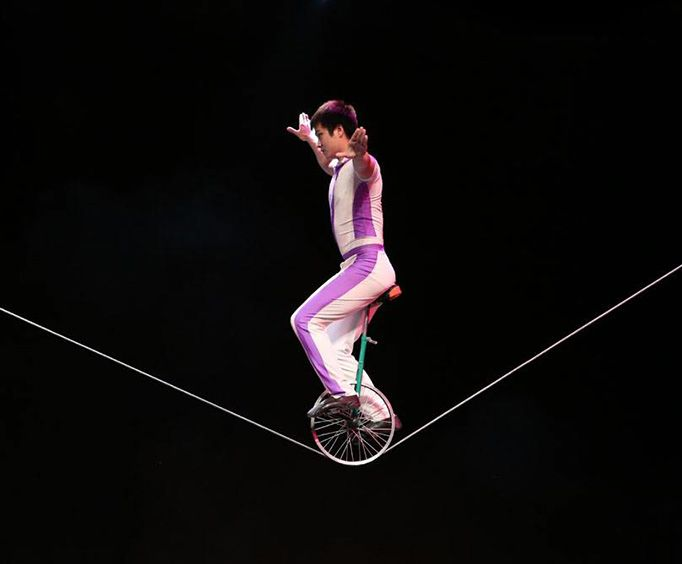 Unicycle on a Tight Rope at Acrobats of China