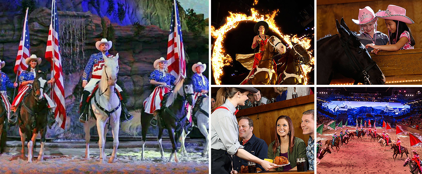 Collage of Dolly Parton's Stampede Dinner and Show Branson